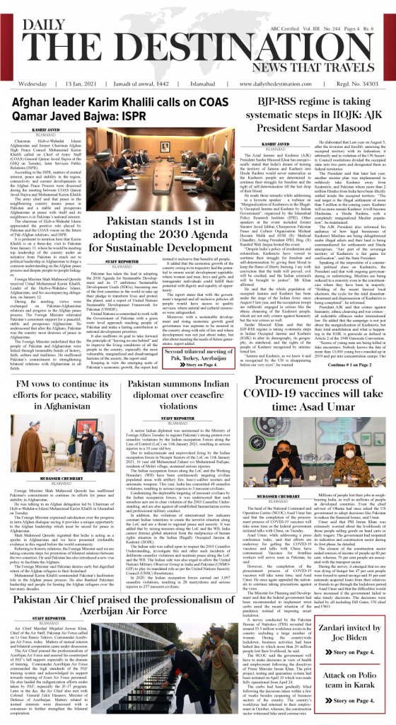 Daily the Destination - ePaper 01 - 13 Jan 2021