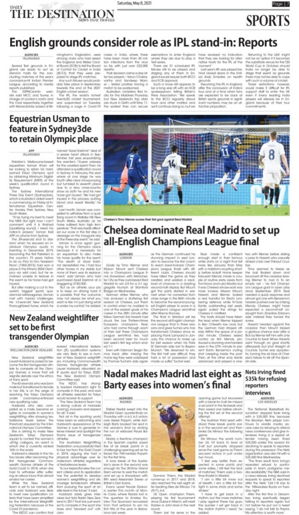 Daily the Destination - ePaper sports- 08 May 2021
