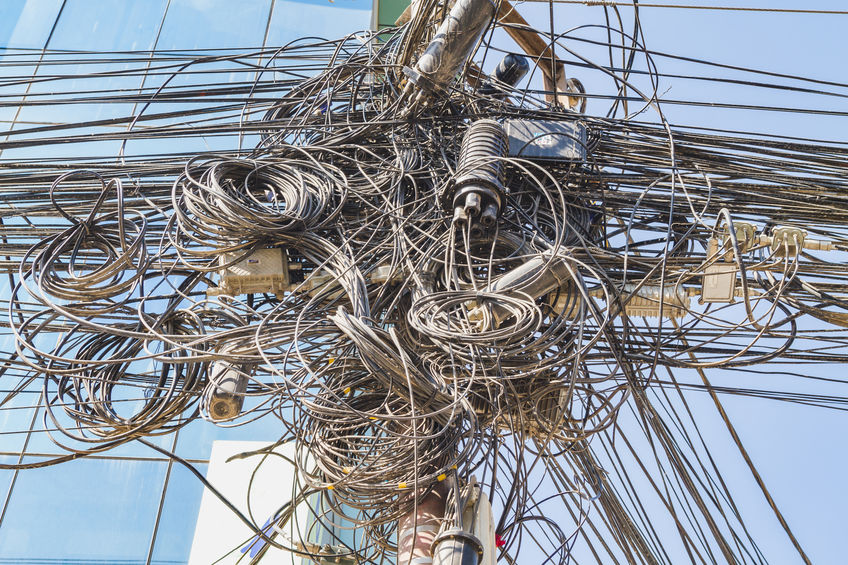 Tangle of cables and wires